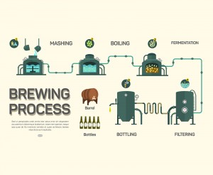 Beer brewing process infographic. Flat style, infographic