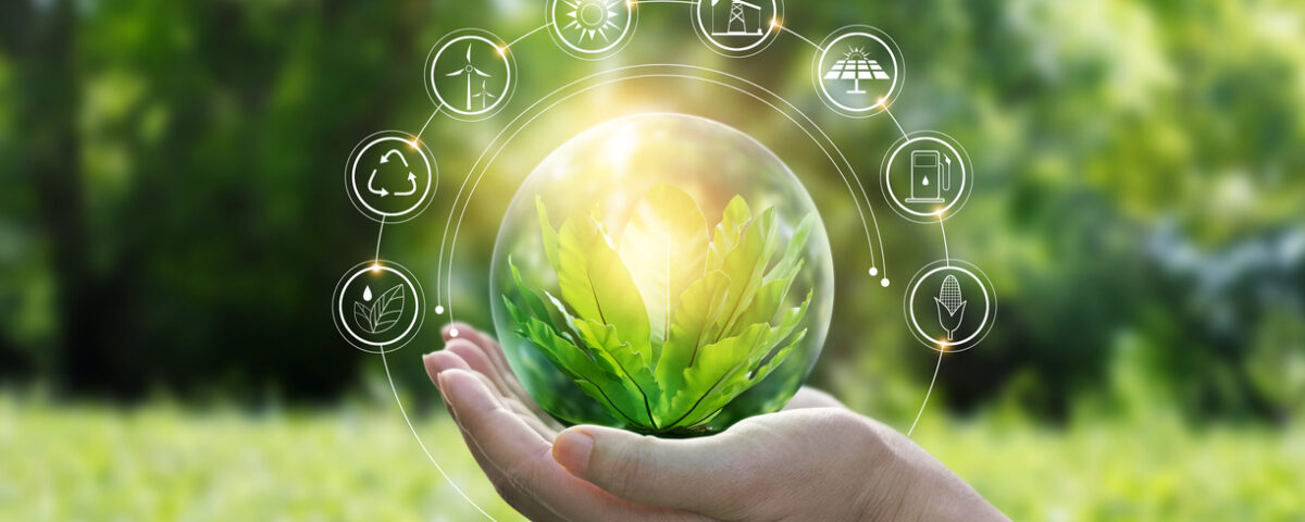 Hand holding globe. Environment. Innovation in Sustainability